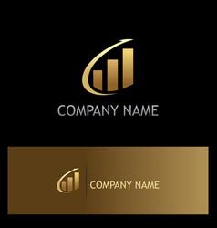 arrow progress business finance gold logo vector image