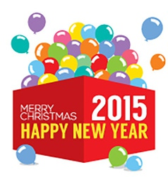 Balloons In The Box 2015 New Year vector image vector image
