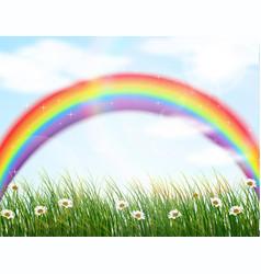 garden flower with rainbow background vector image