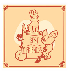 greeting card with cute rabbit and fox vector image