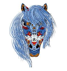 hand drawn head horse multicolored zentangle vector image vector image