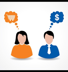 Male and female thinks about shopping and money vector image vector image
