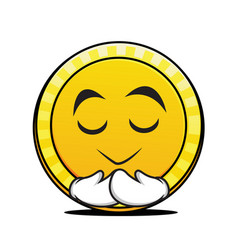 pray coin cartoon character collection vector image