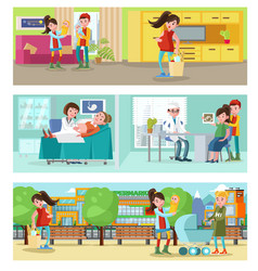 pregnancy horizontal banners vector image