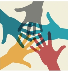 Team symbol multicolored hands vector