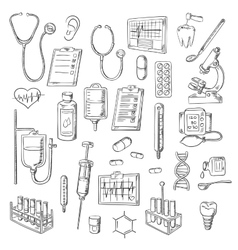 Medical checkup and treatments sketch icons vector