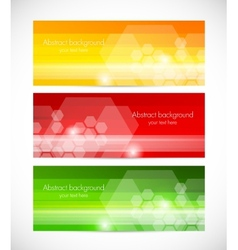 Set of tech banners with hexagons vector image vector image