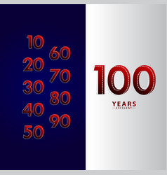 100 years excellent anniversary celebration red vector