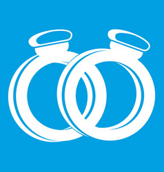 A pair of gold wedding rings icon white vector