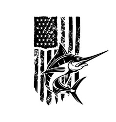 American flag with swordfish design element vector