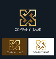 arrow square gold company logo vector image