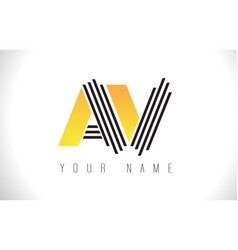 av black lines letter logo creative line letters vector image