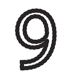 Black and white number nine made from rope vector