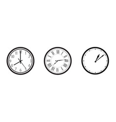 black and white wall office clock icon set vector image