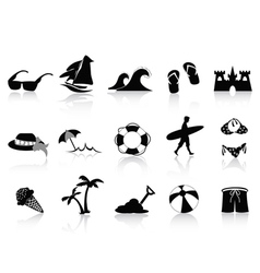 black beach icon set vector image