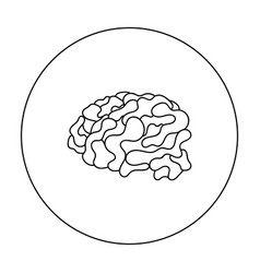 Brain in the virtual reality icon in outline style vector