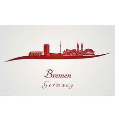 Bremen skyline in red vector image