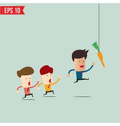 Businessman try to reach carrot - - EPS10 vector image