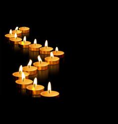 candle gold tealight light golden memorial prayer vector image