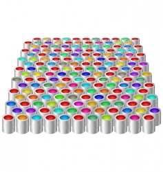 Cans with color paint vector