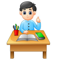 cartoon boy learning at table giving thumbs up vector image