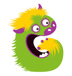 cartoon capital letter g from monster alphabet vector image