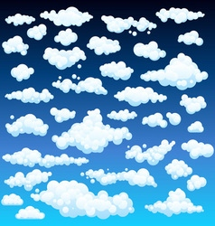 Cartoon Clouds Set On Blue Sky Background Set of vector