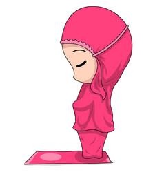 Chibi muslim female cartoon characters the vector