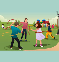 children playing hula hoop vector image