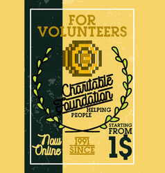 color vintage charitable foundation banner vector image