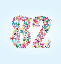 colorful floral 82 number design isolated on vector image