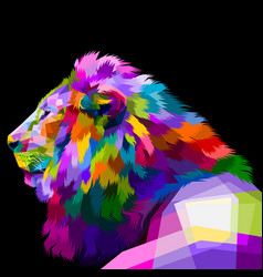 colorful lion looked from side looking to the vector image