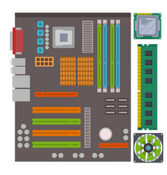 computer ic chip template microchip on detailed vector image