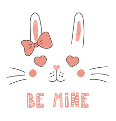 Cute bunny with heart shaped eyes vector