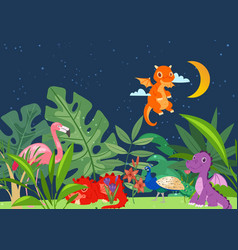 cute dinosaurs in dino world with palm trees vector image