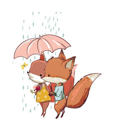 Cute fox with duck vector