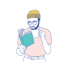 Cute smart bearded guy with glasses holding mug vector