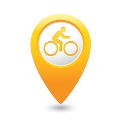 Cyclist symbol map pointer yellow vector