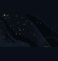 dark blue artistic background with gold confetti vector image