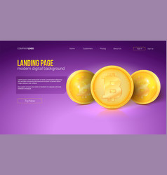 digital concept of landing page of website golden vector image