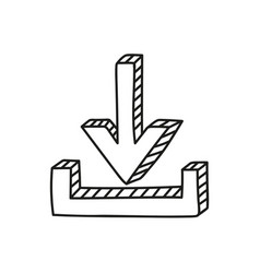 Download icon in doodle style vector