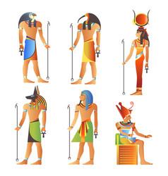 egyptian gods and goddess pharaoh egypt deity vector image
