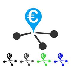 Euro bank branches flat icon vector