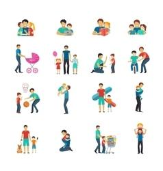 Fatherhood Flat Icons vector