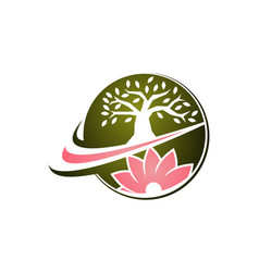 flower and tree logo design template vector image