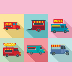 food truck icon set flat style vector image