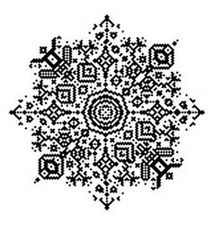 Geometric round element snowflake or mandala vector