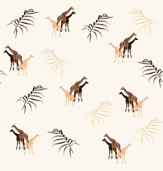 giraffe on light background seamless pattern vector image