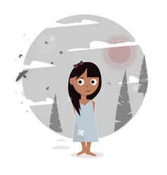 Girl in the forest vector