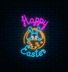 Glowing neon sign of easter bunny in basket with vector